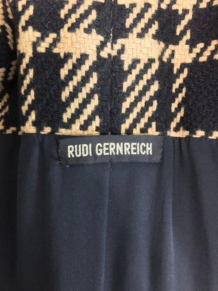 Rudi Gernreich vintage 1960s mod black and tan wool plaid mini cape tent coat 10