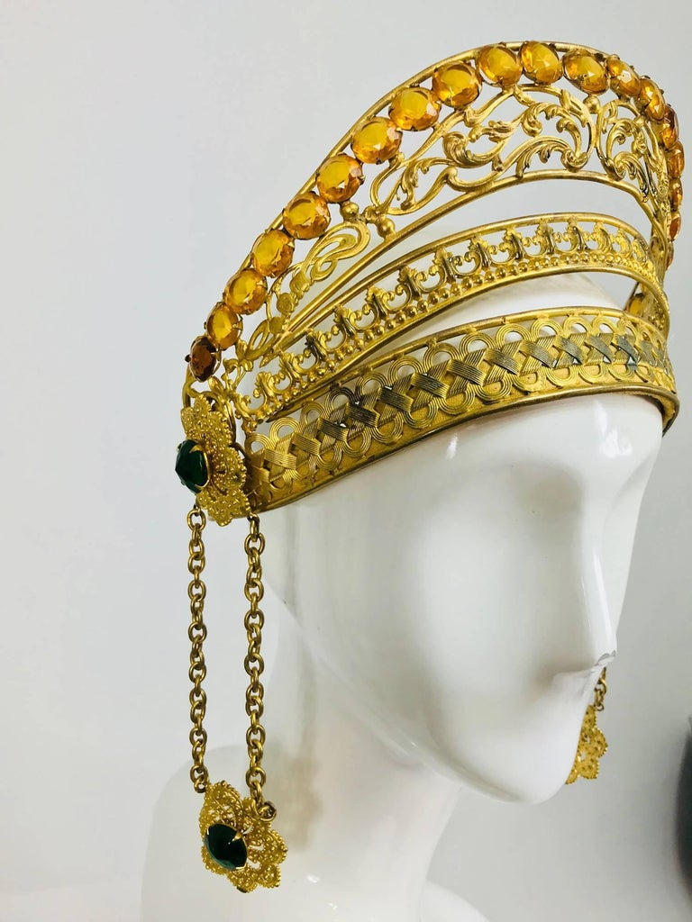 Rare Crown headdress gilt metal with jewels and side drops early 1900s In Excellent Condition For Sale In West Palm Beach, FL