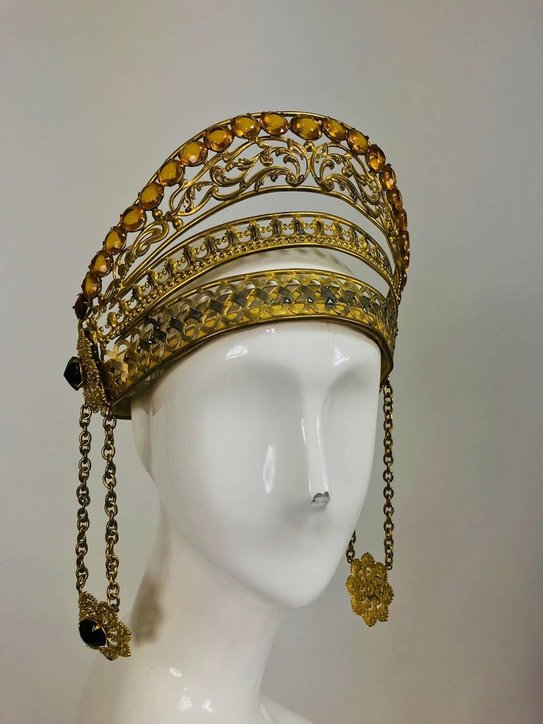 Men's Rare Crown headdress gilt metal with jewels and side drops early 1900s For Sale