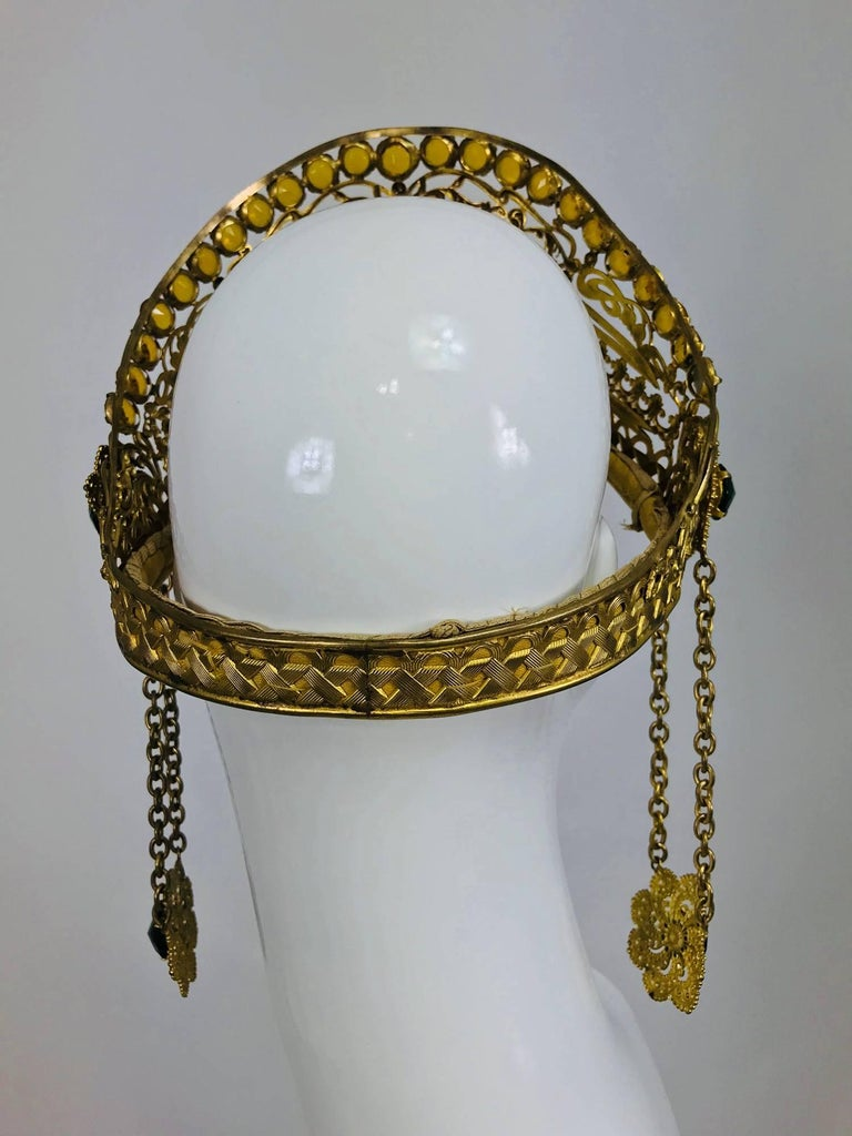 Rare Crown headdress gilt metal with jewels and side drops early 1900s For Sale 1