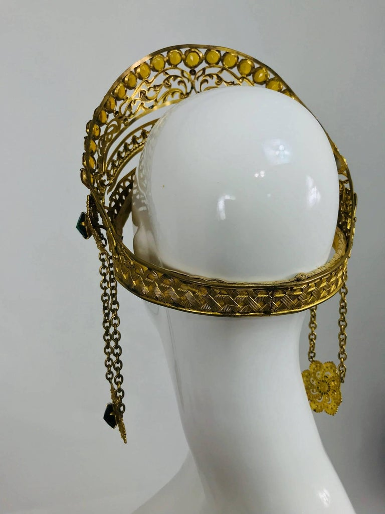 Rare Crown headdress gilt metal with jewels and side drops early 1900s For Sale 2