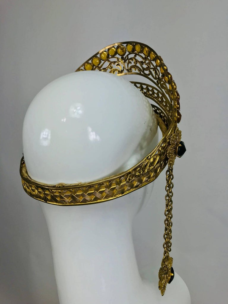 Rare Crown headdress gilt metal with jewels and side drops early 1900s For Sale 3