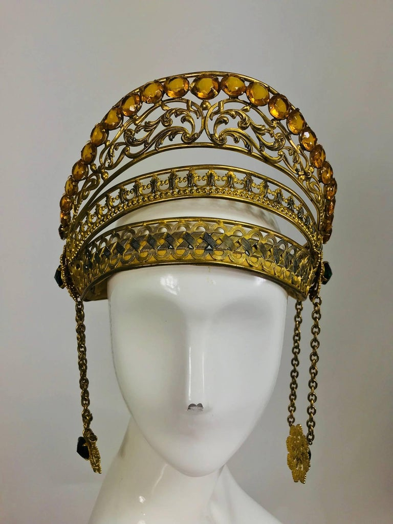 Rare Crown headdress gilt metal with jewels and side drops early 1900s For Sale 5