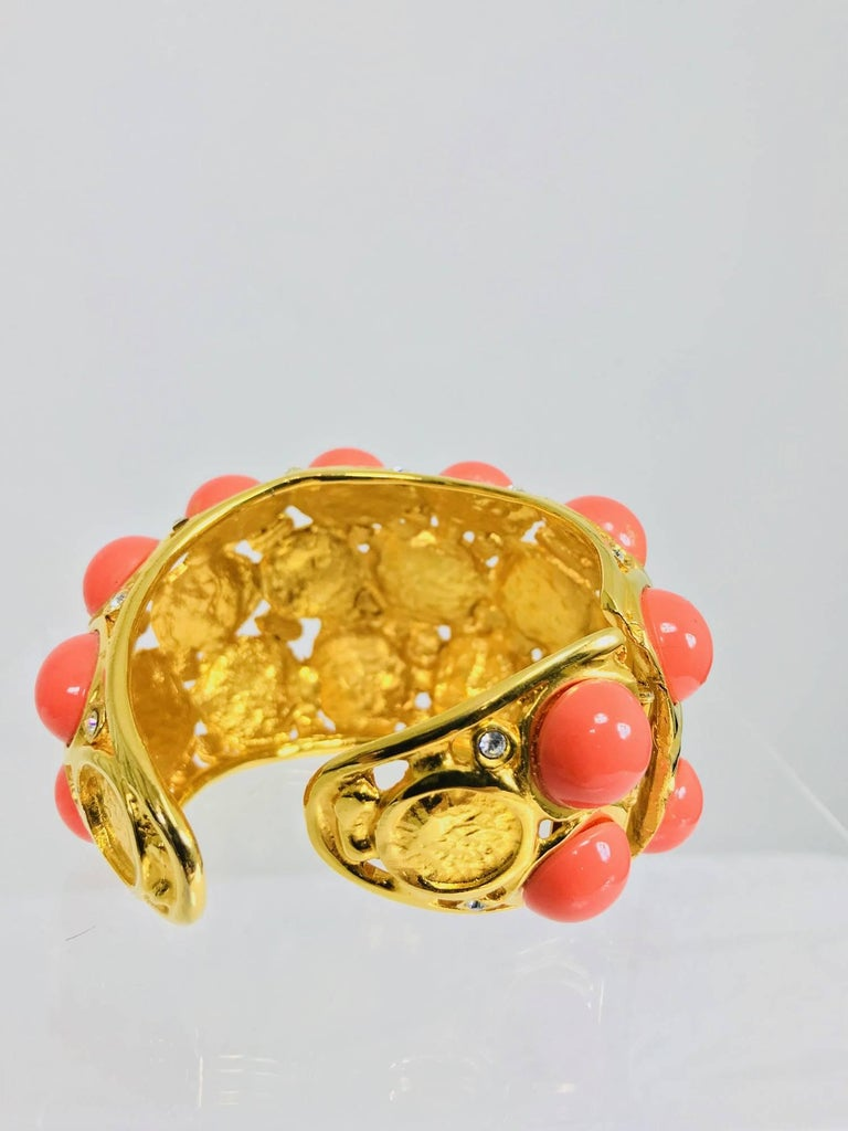 Women's Kenneth J Lane faux coral turquoise rhinestone gold clamp cuffs bracelet For Sale