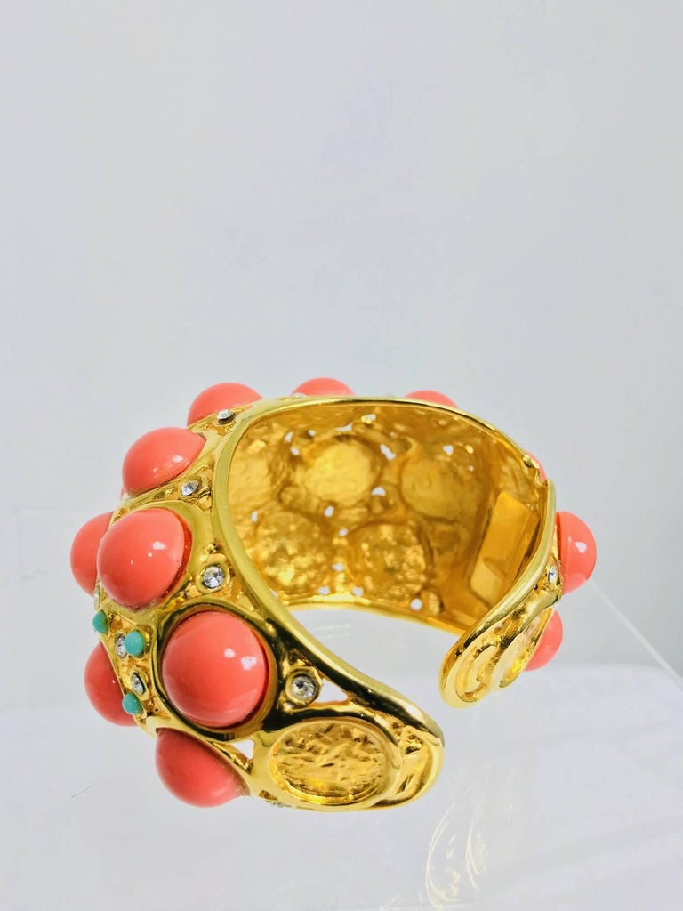 Kenneth J Lane faux coral turquoise rhinestone gold clamp cuffs bracelet For Sale 1