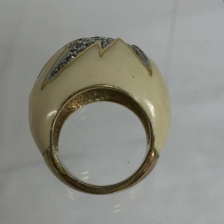 1970s cream enamel dome top vermeil ring set with rhinestones  In Excellent Condition For Sale In West Palm Beach, FL