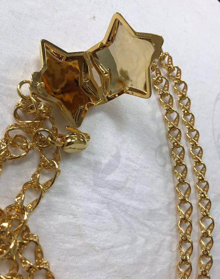 Judith Leiber stars chain belt or necklace gold stars chain and locket rare 3