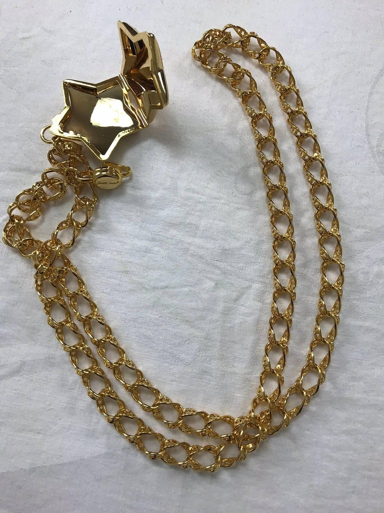 Judith Leiber stars chain belt or necklace gold stars chain and locket rare 4