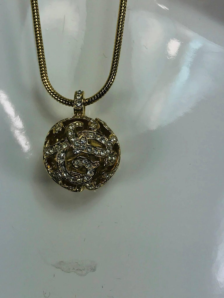 Christian Dior gold snake chain and rhinestone orb drop necklace 2