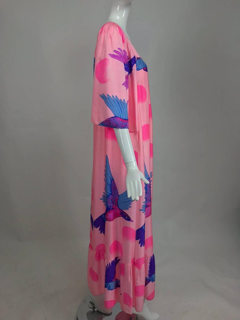 Vintage Hanae Mori blue birds on pink caftan 1970s 3