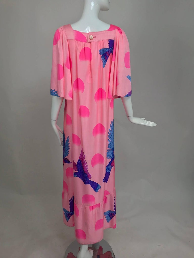 Vintage Hanae Mori blue birds on pink caftan 1970s 6