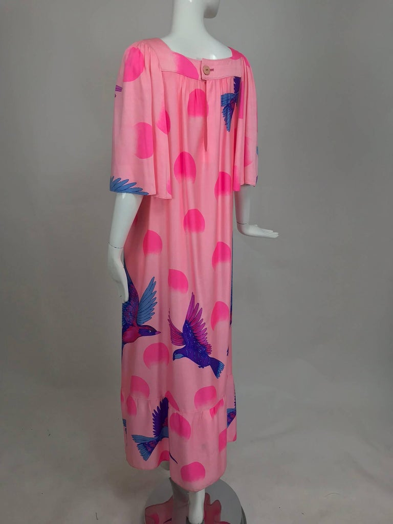 Vintage Hanae Mori blue birds on pink caftan 1970s 7