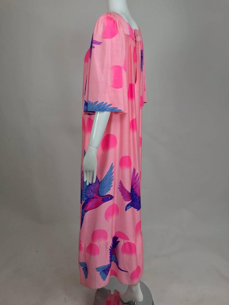 Vintage Hanae Mori blue birds on pink caftan 1970s 8