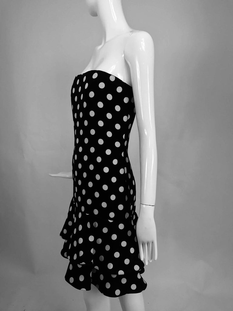 Carolyne Roehm Black And White Polka Dot Strapless Dress