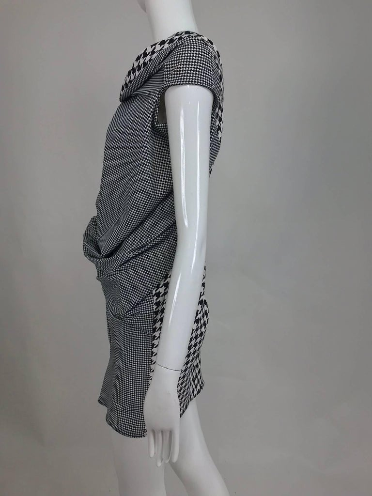 Black Comme des Garcons Junya Watanabe black and white check drape and pucker dress For Sale