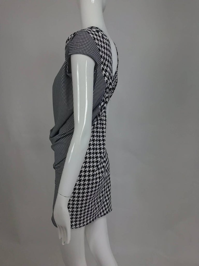 Comme des Garcons Junya Watanabe black and white check drape and pucker dress In Excellent Condition For Sale In West Palm Beach, FL