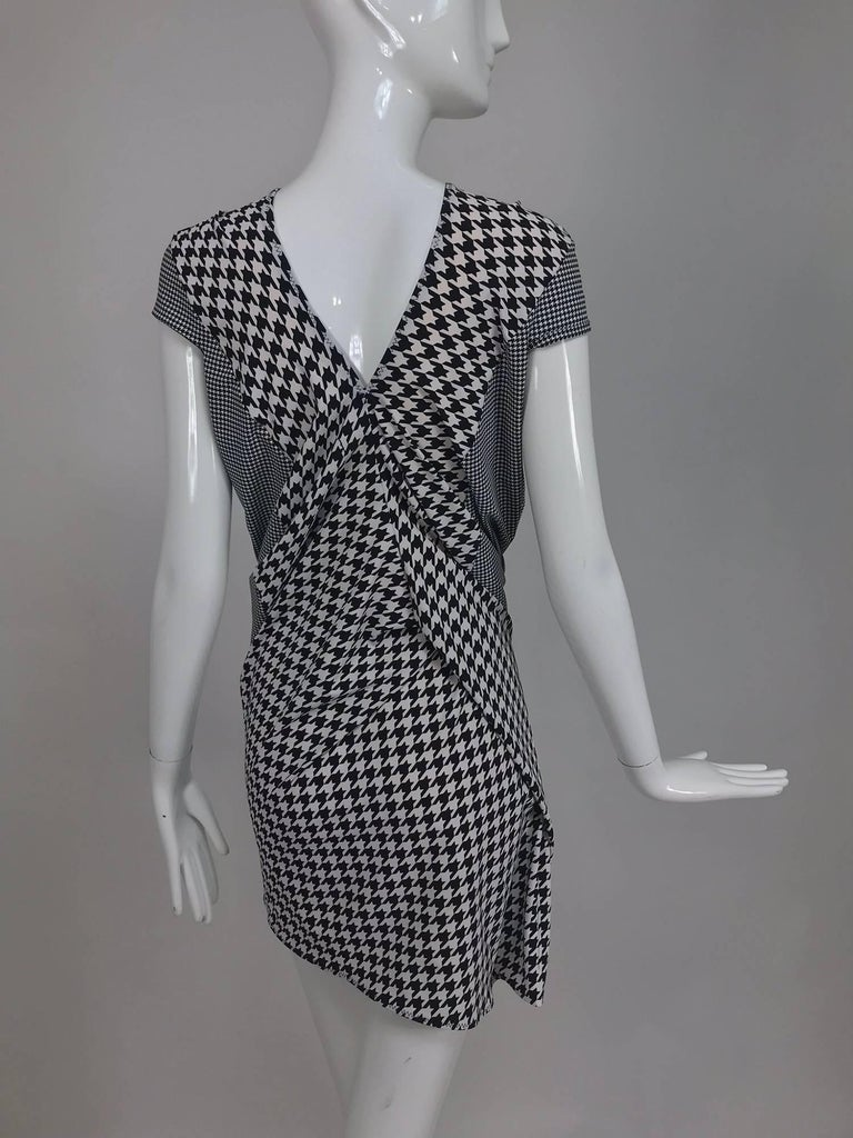 Comme des Garcons Junya Watanabe black and white check drape and pucker dress For Sale 1