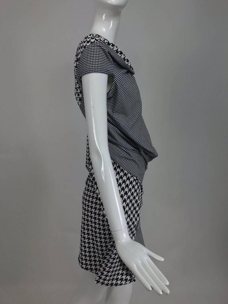 Comme des Garcons Junya Watanabe black and white check drape and pucker dress For Sale 3