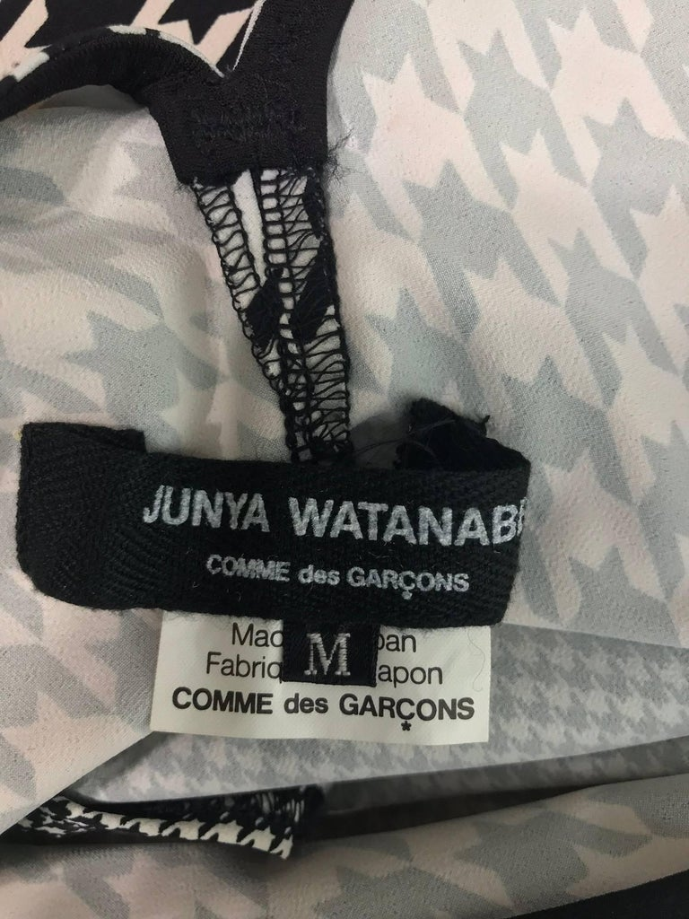 Comme des Garcons Junya Watanabe black and white check drape and pucker dress For Sale 5