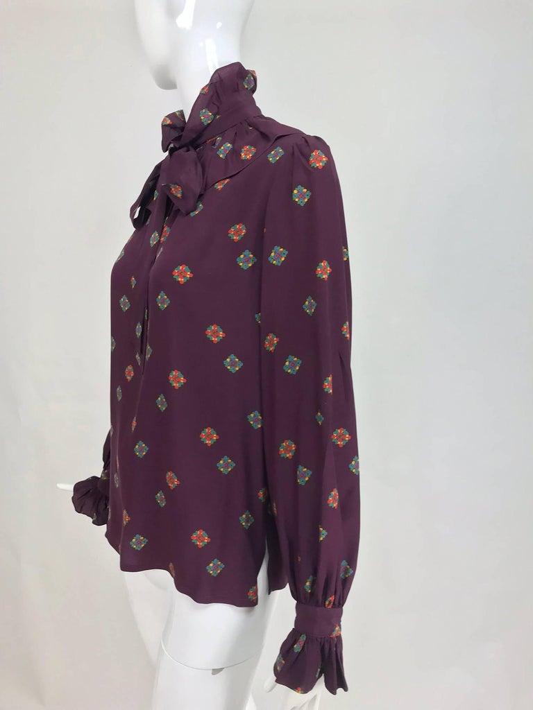8c35ebb43ec332 Vintage Yves Saint Laurent Rich burgundy silk ruffle bow tie floral silk  blouse 1970s.