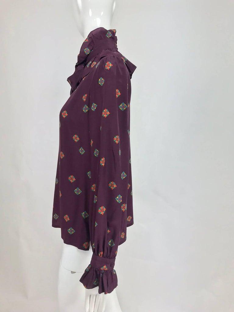 d2fe726c9390c7 Black Vintage Yves Saint Laurent Ruffle bow tie floral silk blouse 1970s  For Sale