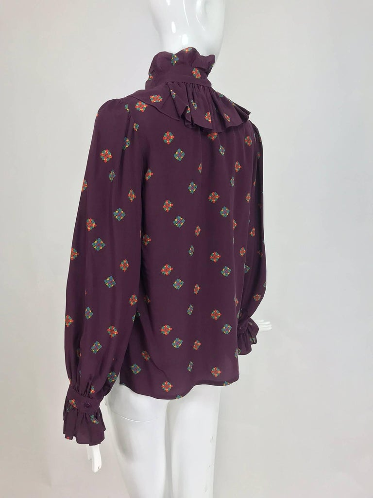 dc53eeaded9c4b Vintage Yves Saint Laurent Ruffle bow tie floral silk blouse 1970s In  Excellent Condition For Sale