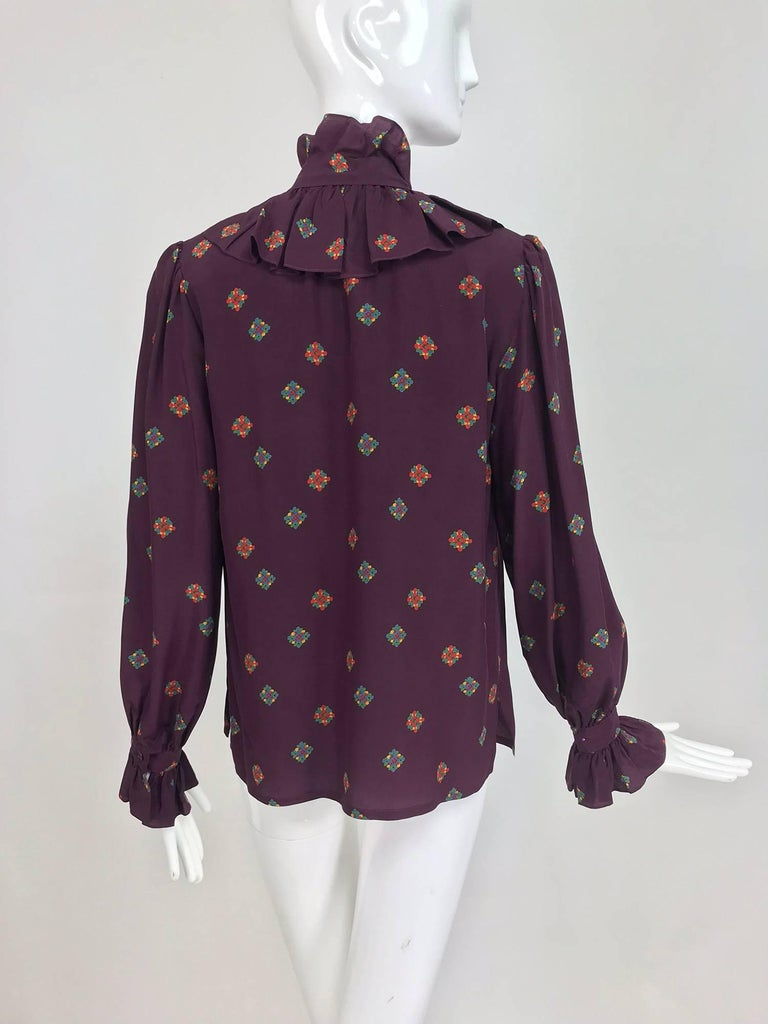 f714bba444ab6b Women s Vintage Yves Saint Laurent Ruffle bow tie floral silk blouse 1970s  For Sale