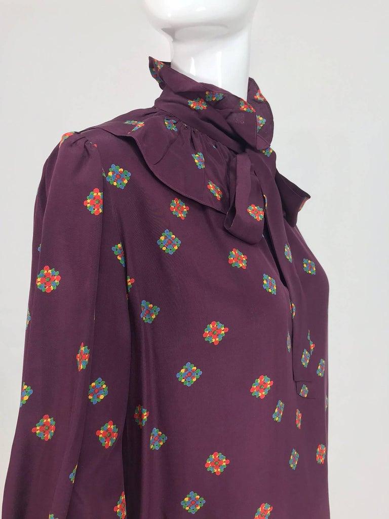 19df13d1352e1d Vintage Yves Saint Laurent Ruffle bow tie floral silk blouse 1970s For Sale  3