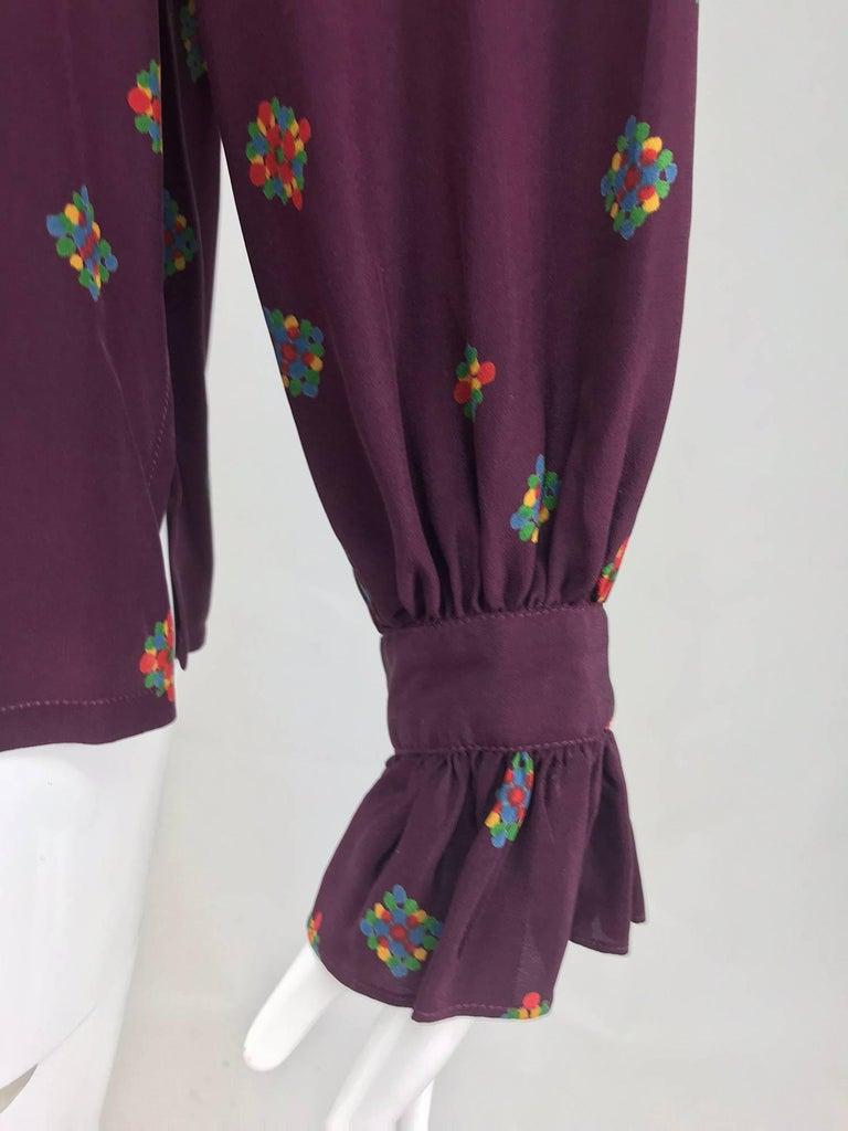 f93768d939fa7c Vintage Yves Saint Laurent Ruffle bow tie floral silk blouse 1970s For Sale  4