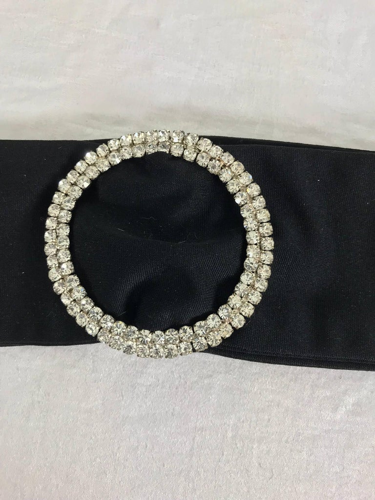 Black Rhinestone buckle black fabric belt 1970s For Sale