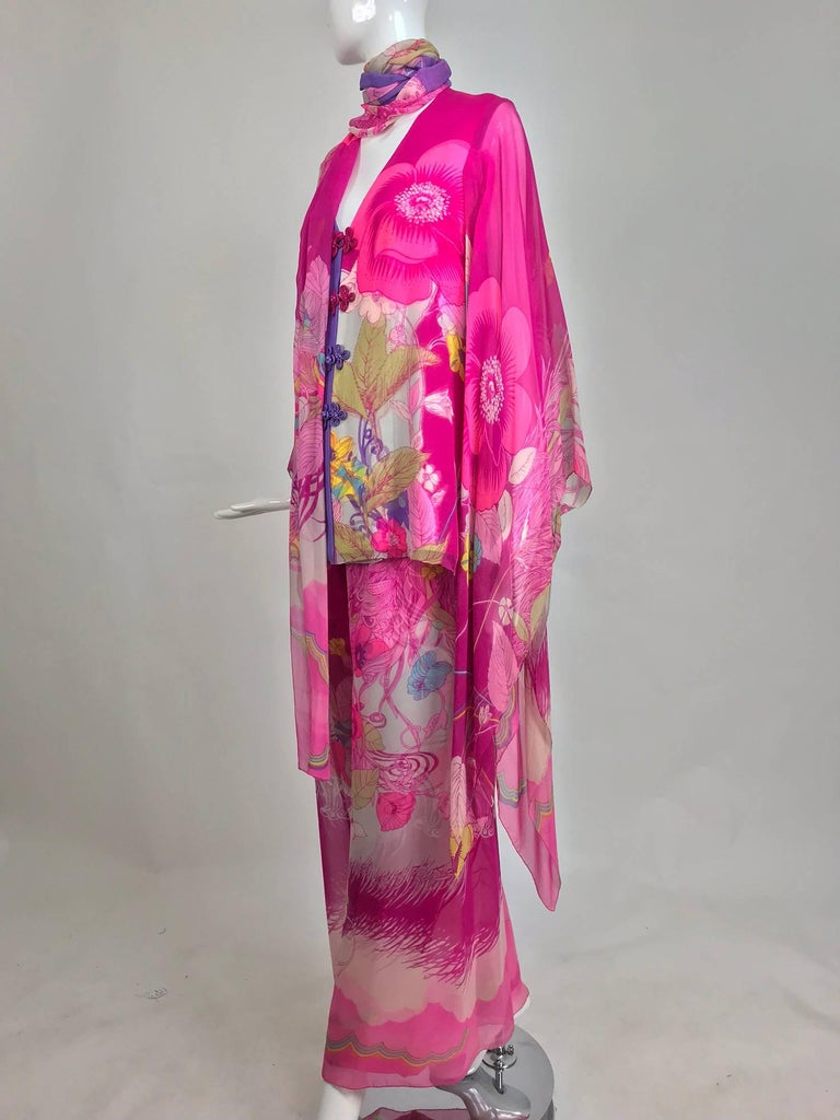 Early Hanae Mori Couture silk kimono evening trouser set in a vibrant pink floral print, the same style in another colour way is found in the collection of the Metropolitan Museum and dated 1966-69...This set is exquisitely constructed of  printed