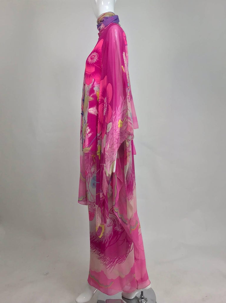 Pink Hanae Mori pink floral silk kimono evening set in The Mets Collection 1966-69 For Sale