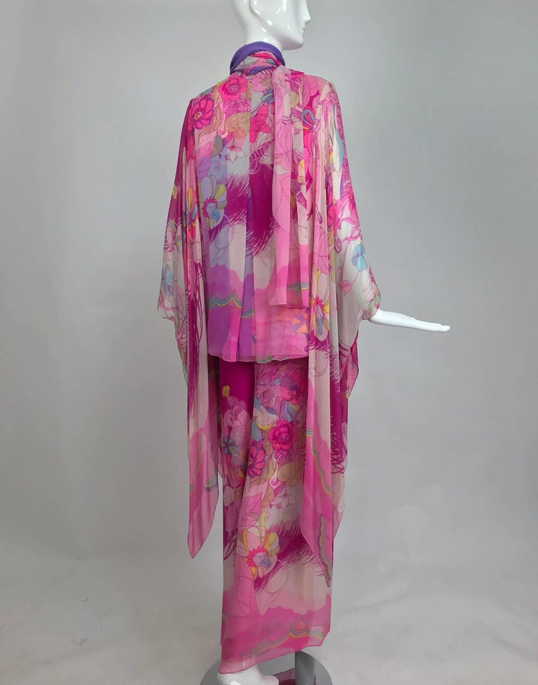 Hanae Mori pink floral silk kimono evening set in The Mets Collection 1966-69 For Sale 1