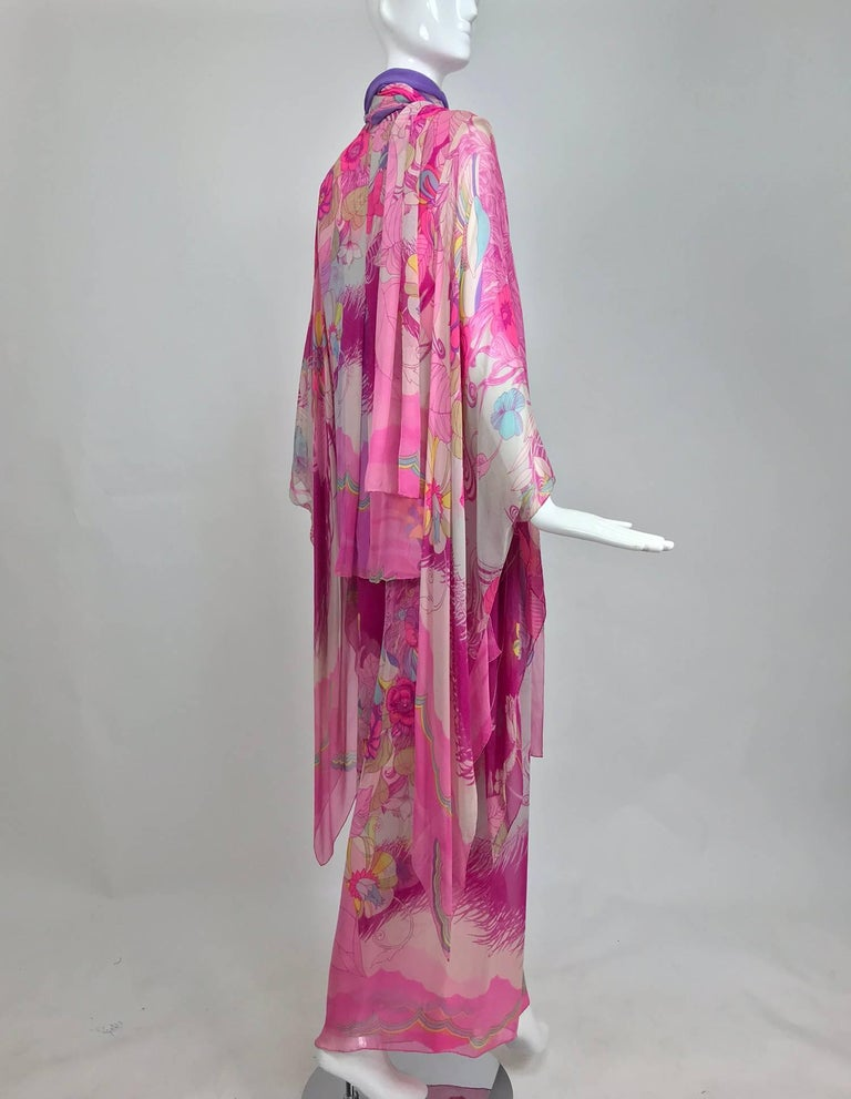 Hanae Mori pink floral silk kimono evening set in The Mets Collection 1966-69 For Sale 2