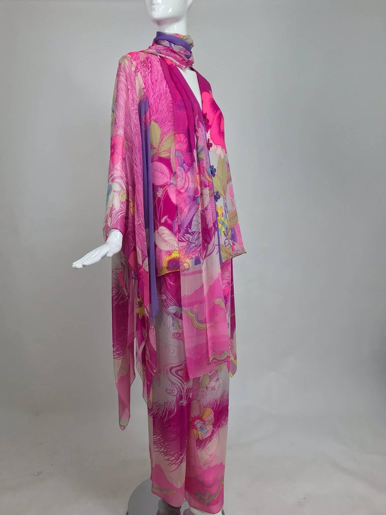 Hanae Mori pink floral silk kimono evening set in The Mets Collection 1966-69 For Sale 3