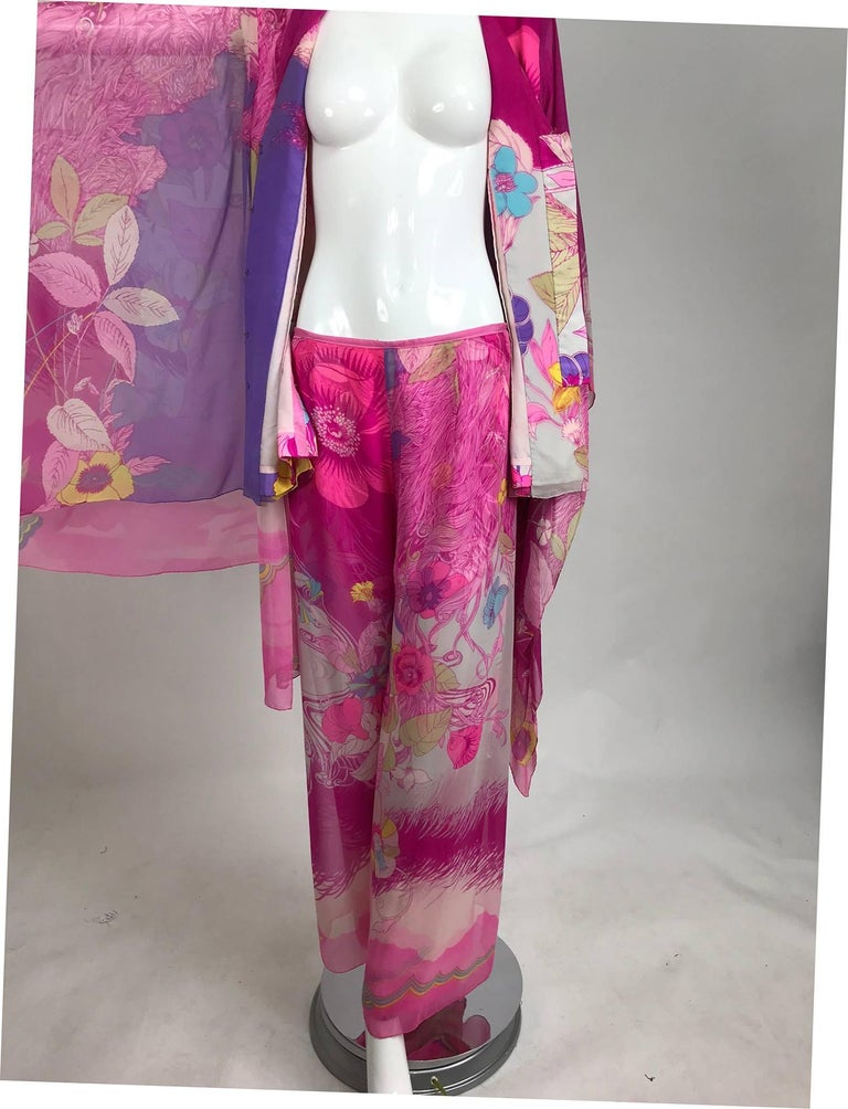 Hanae Mori pink floral silk kimono evening set in The Mets Collection 1966-69 For Sale 4