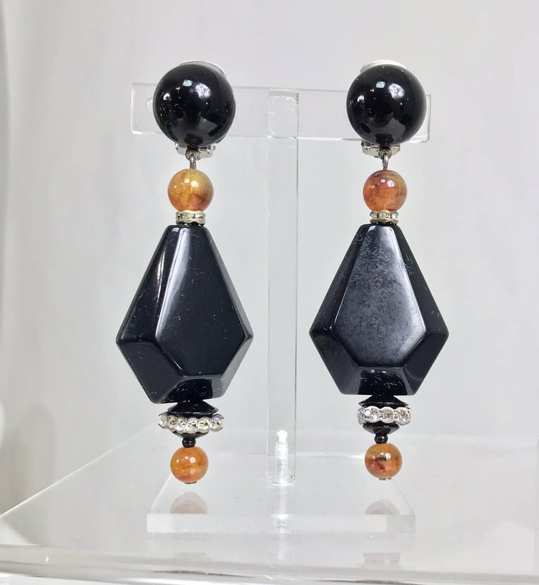 Vintage black and amber bead rhinestone large dangle earrings 1990s 2