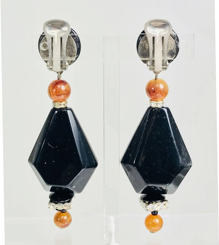 Women's Vintage black and amber bead rhinestone large dangle earrings 1990s For Sale