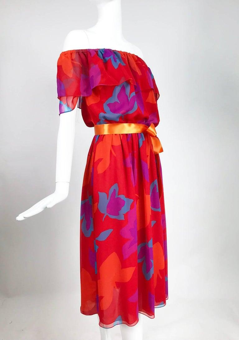 Vintage Hanae Mori vibrant printed chiffon off the shoulder dress 1970s 2