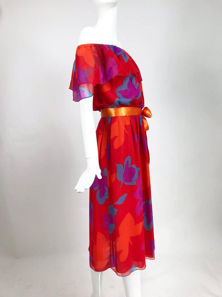 Vintage Hanae Mori vibrant printed chiffon off the shoulder dress 1970s 3