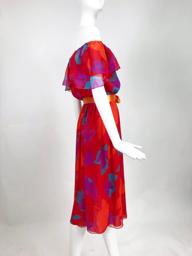 Vintage Hanae Mori vibrant printed chiffon off the shoulder dress 1970s 4