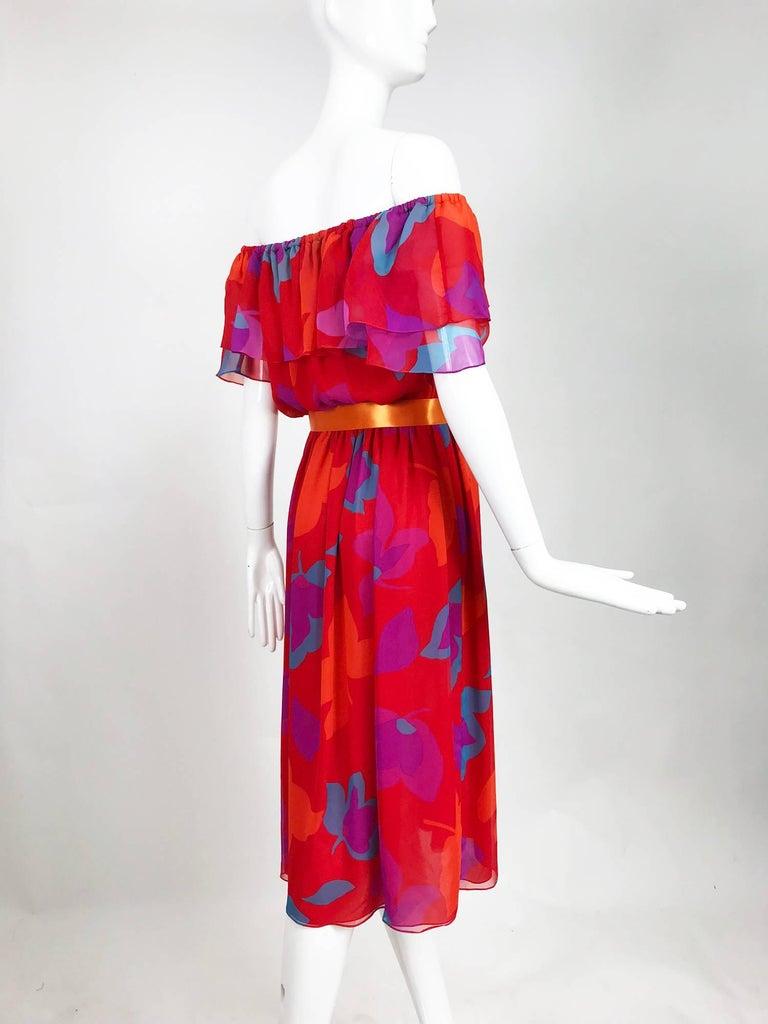 Vintage Hanae Mori vibrant printed chiffon off the shoulder dress 1970s 5