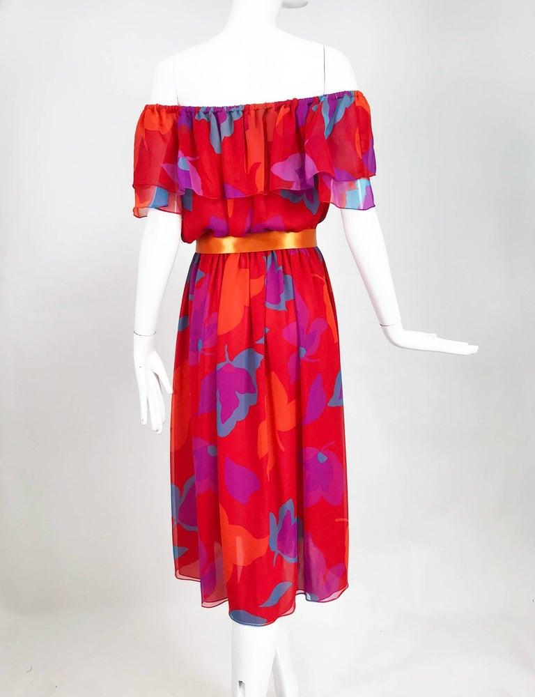 Vintage Hanae Mori vibrant printed chiffon off the shoulder dress 1970s 6