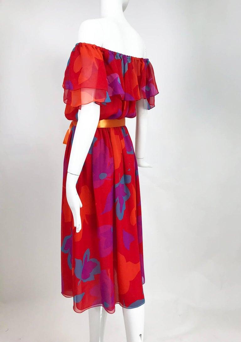 Vintage Hanae Mori vibrant printed chiffon off the shoulder dress 1970s 7
