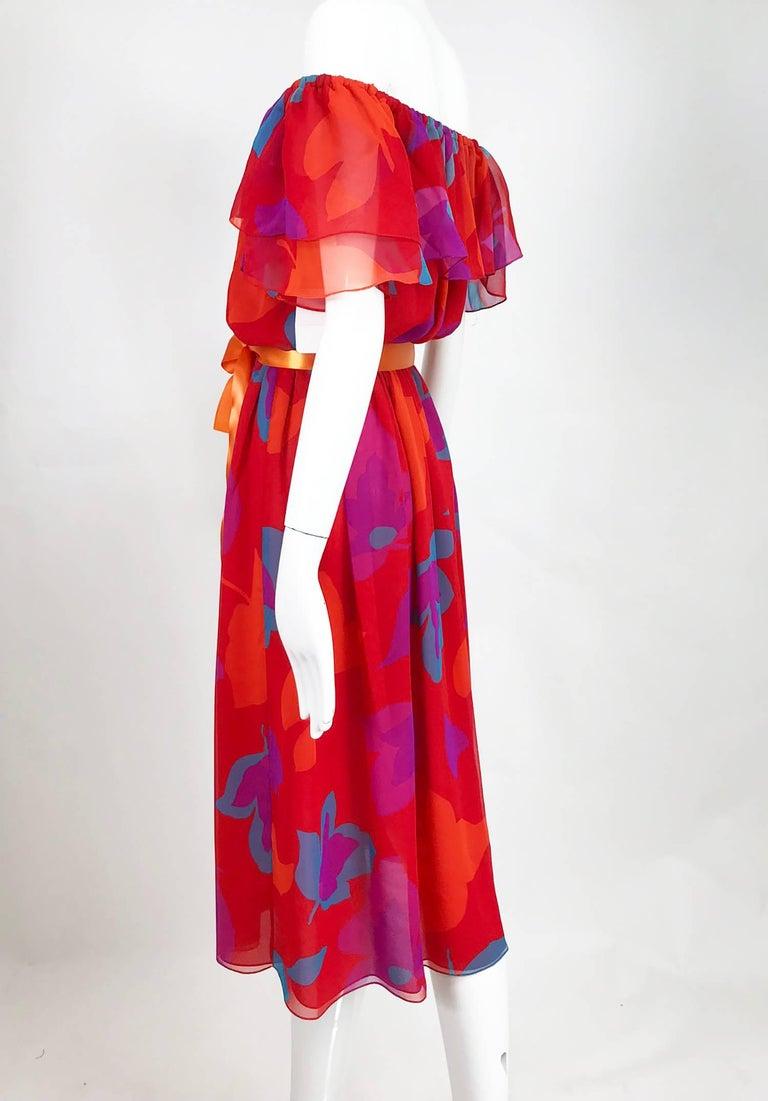 Vintage Hanae Mori vibrant printed chiffon off the shoulder dress 1970s 8
