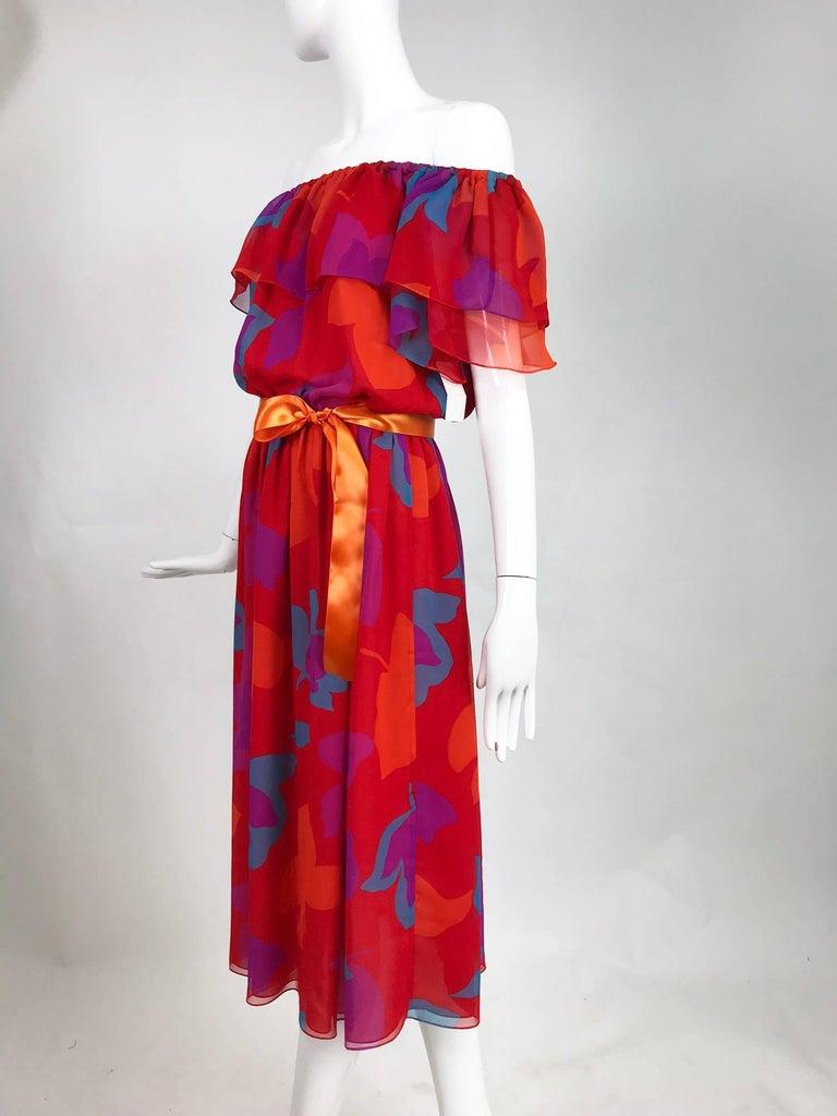 Vintage Hanae Mori vibrant printed chiffon off the shoulder dress 1970s 9