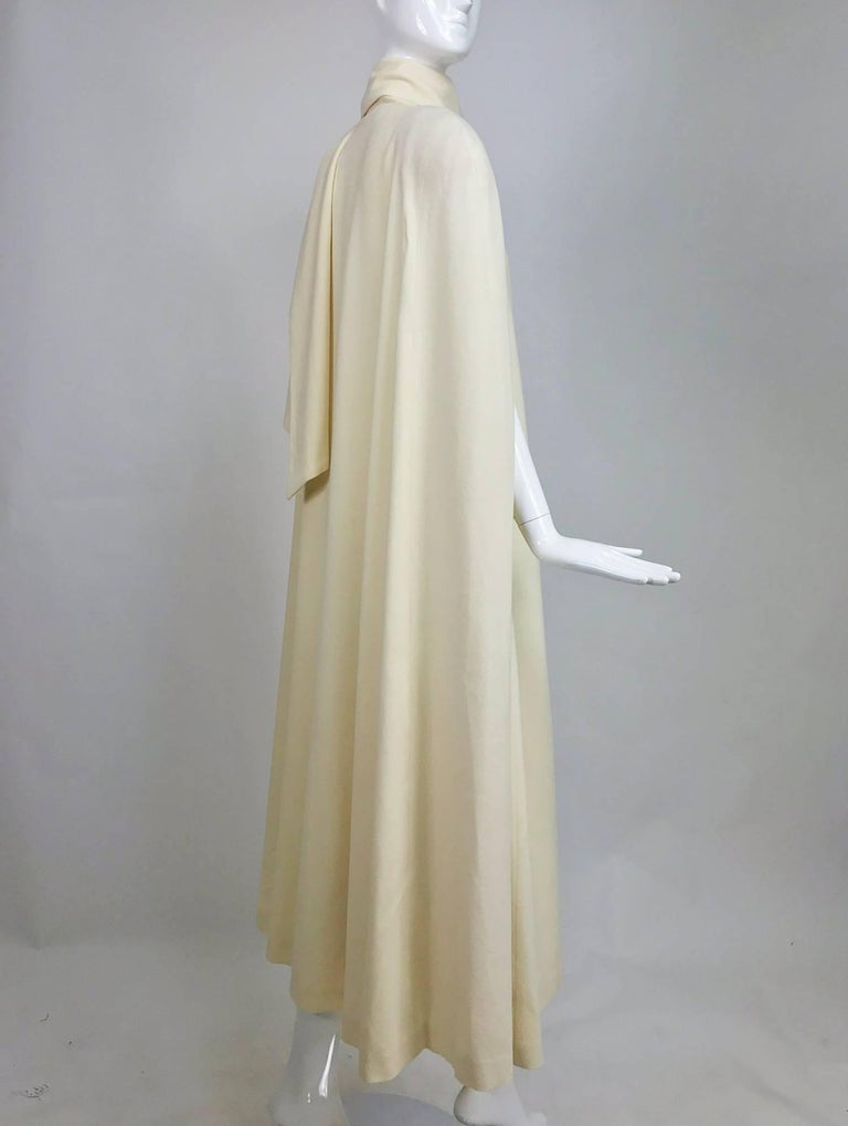 Gray Winter white full length wool cape 1980s For Sale