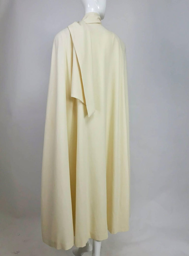 Winter white full length wool cape 1980s For Sale 1