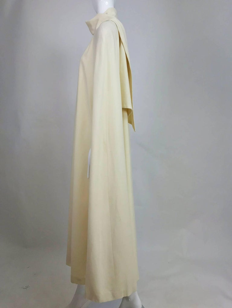 Winter white full length wool cape 1980s For Sale 2