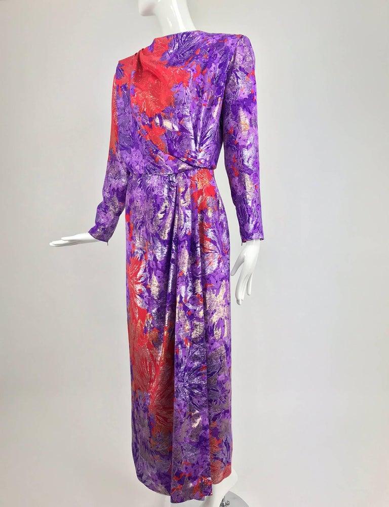 Yves Saint Laurent plunge back wrap metallic brocade evening dress 1980s 2
